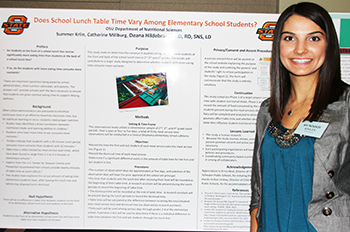 Summer Krlin and her research project display at Oklahoma State University's Student Union Ballroom at end of the year presentations.